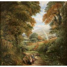 BRITISH SCHOOL, (19TH CENTURY)EXTENSIVE LANDSCAPE WITH VILLAGERS AND RAINBOW IN DISTANCE