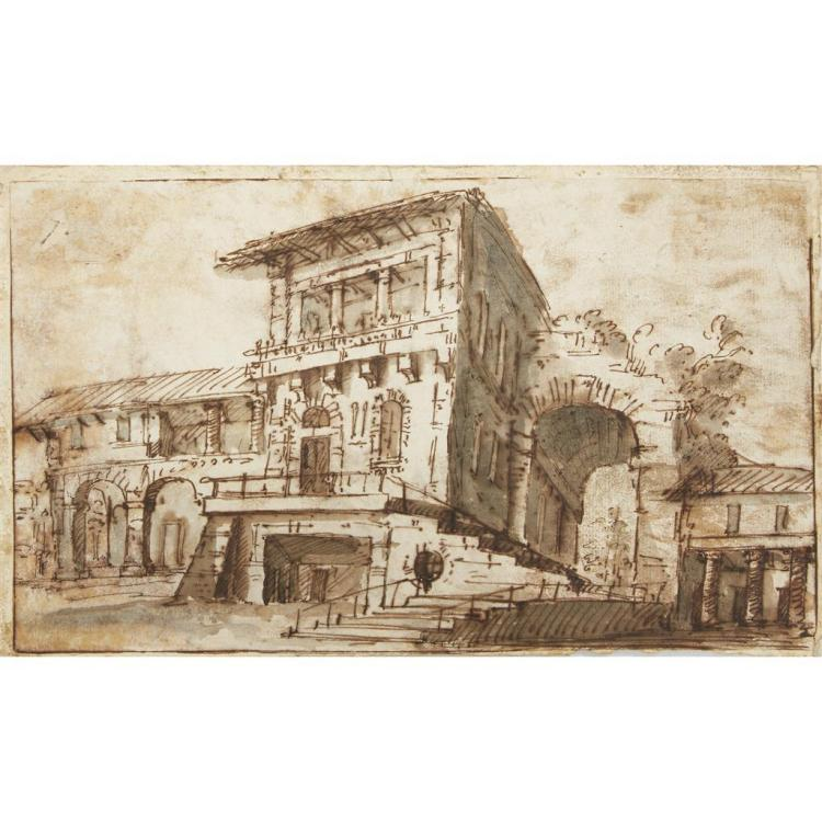 BOLOGNESE SCHOOL, (18TH CENTURY), STUDY OF A BUILDING