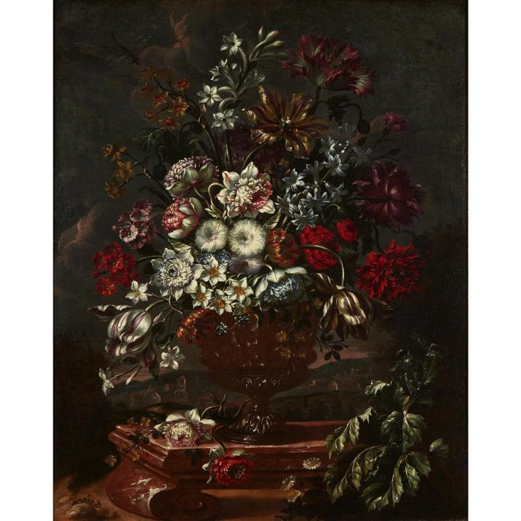 CIRCLE OF JEAN GEORGE CHRISTIAN COCLERS, (FLEMISH 1715-1751), STILL LIFE OF MIXED FLOWERS IN AN URN, LANDSCAPE BEYOND