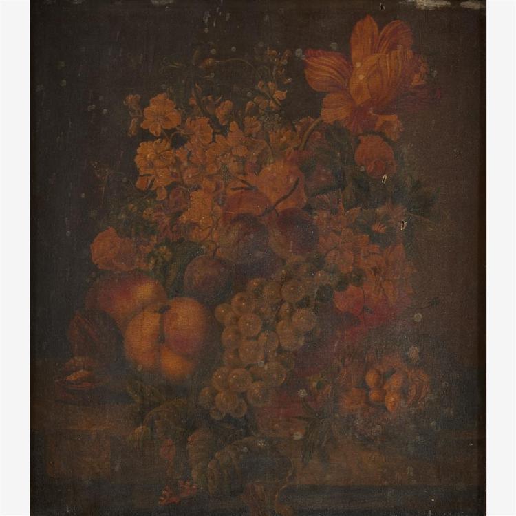 FOLLOWER OF PAUL THEODOR VAN BRÜSSEL, (DUTCH 1745-1795), TABLETOP STILL LIFE WITH MIXED FRUITS, FLOWERS, WALNUTS AND BIRD''S NEST ON...