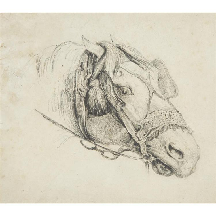 ATTRIBUTED TO THÉODORE GÉRICAULT, (FRENCH 1791-1824), STUDY OF A HORSE''S HEAD