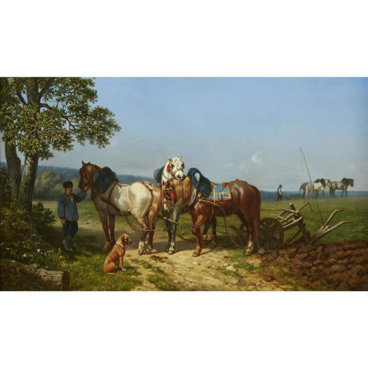 ALFRED SAINT-MARIE, (FRENCH 1825-1890), FARM HORSES WITH ATTENDANT
