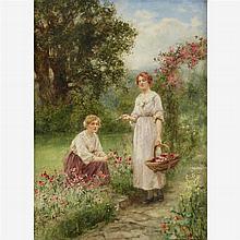 HENRY JOHN YEEND KING, (BRITISH 1855-1924), GATHERING FLOWERS