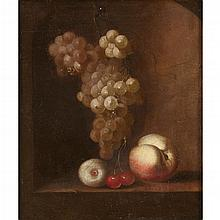 ATTRIBUTED TO BAREND VAN DER MEER, (DUTCH C. 1659-C. 1702), STILL LIFE OF GRAPES, CHERRIES, A PEACH AND AN APPLE ON A LEDGE