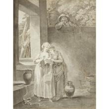 ATTRIBUTED TO JACQUES PHILIPPE CARESME, (FRENCH 1734-1796), TWO YOUNG WOMEN MAKING A CONFIDENCE NEAR A FOUNTAIN, AND A SURPRISED YOU...