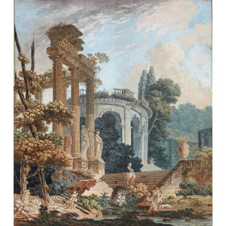 ATTRIBUTED TO HUBERT ROBERT, (FRENCH 1733-1808), CAPRICCIO WITH ELEGANT FIGURES; AND A COMPANION