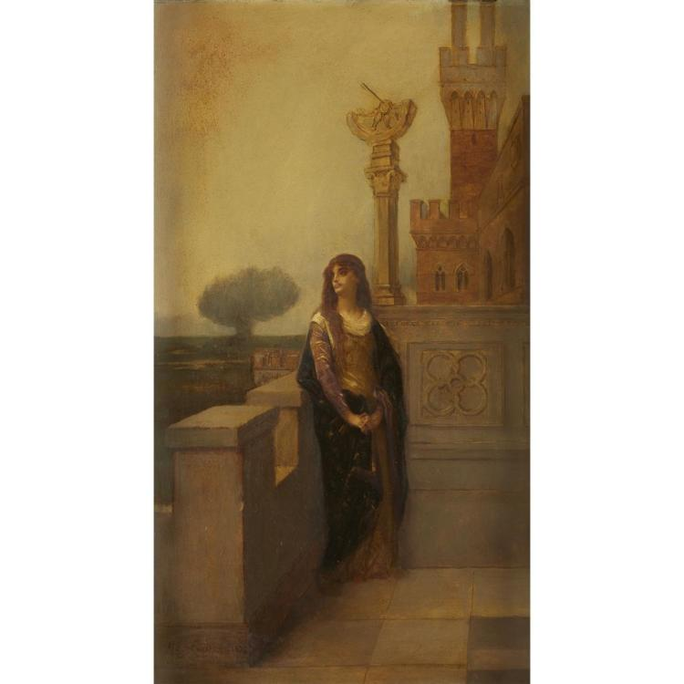 ALEXANDRE CABANEL, (FRENCH 1823-1889), WOMAN ON A BALCONY
