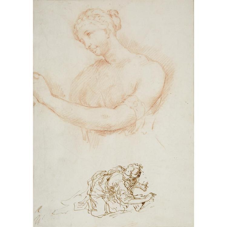 CIRCLE OF DONATO CRETI, (ITALIAN 1671-1749), STUDY OF A KNEELING WOMAN