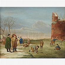 MANNER OF HENDRICK AVERCAMP, (DUTCH 1585-C. 1663)FIGURES ON A FROZEN WATERWAY