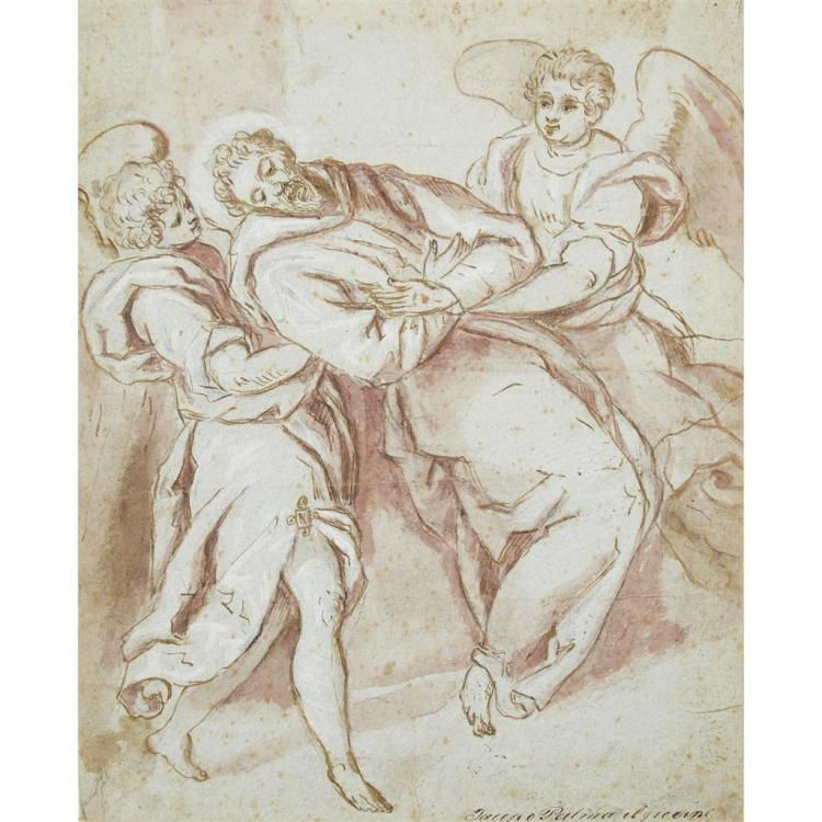 ATTRIBUTED TO JACOPO PALMA IL GIOVANE, (ITALIAN C. 1548-1628), SAINT FRANCIS WITH TWO ANGELS