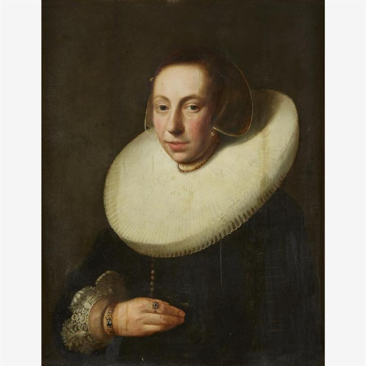 DUTCH SCHOOL, (17TH CENTURY), PORTRAIT OF A LADY WITH WHITE RUFF, HALF-LENGTH, SAID TO BE CORVINA VAN HOOFT