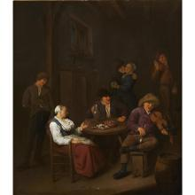 CORNELIS PIETERSZ BEGA, (DUTCH C. 1631-1664), THE INTERIOR OF A TAVERN WITH A FIDDLER AND PEASANTS DRINKING AND DANCING