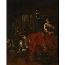 RICHARD BRAKENBURG, (DUTCH 1650-1702), AN INTERIOR WITH WOMAN SERVING MEAT AND WINE, CHILDREN PLAYING ON FLOOR, AND FIGURES PLAYING...