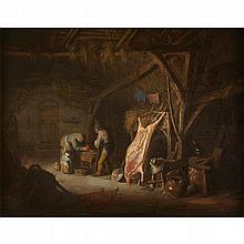 ISAAC VAN OSTADE, (DUTCH 1621-1649), A PEASANT FAMILY PREPARING MEAT IN A BARN