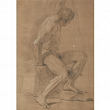 ATTRIBUTED TO FRANÇOIS LEMOYNE, (FRENCH 1688-1737), SEATED MALE NUDE