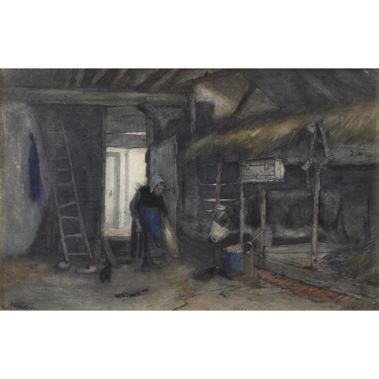 ANTON MAUVE, (DUTCH 1838-1888), FEEDING TIME