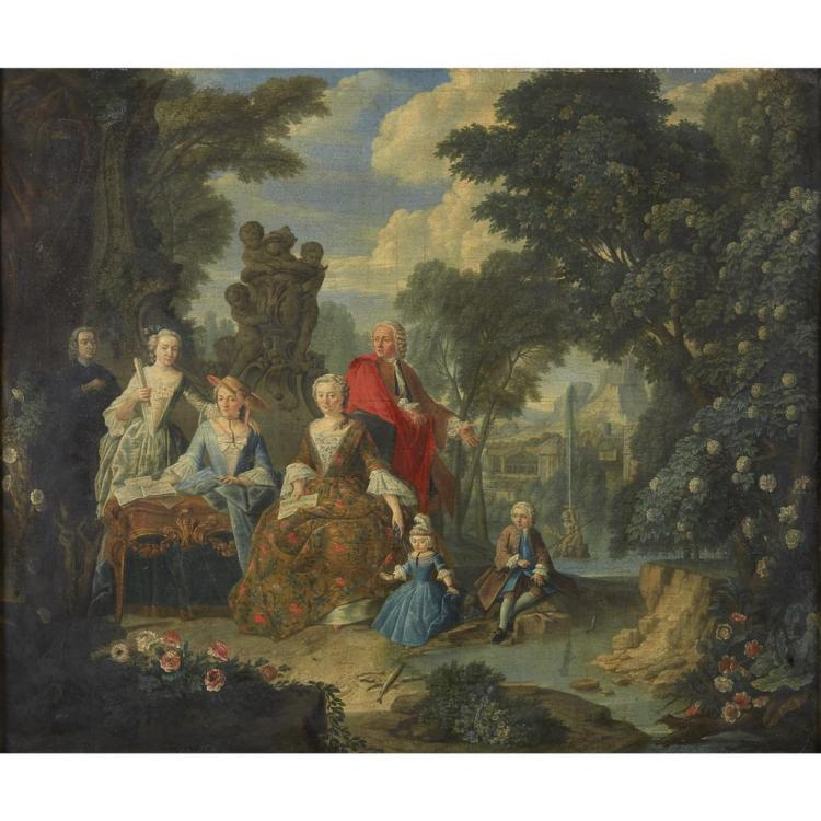 CIRCLE OF JAN JOSEF HOREMANS THE YOUNGER, (FLEMISH 1714-1790), ELEGANT FIGURES IN A PARK