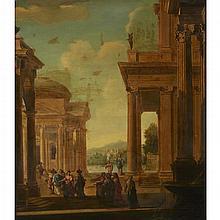 MANNER OF VIVIANO CODAZZI, (ITALIAN C. 1604-1670), CAPRICCIO WITH FIGURES