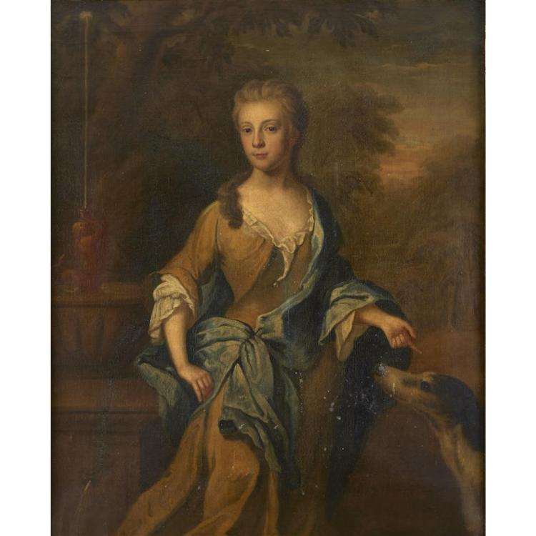 ATTRIBUTED TO JONATHAN RICHARDSON, (BRITISH C. 1665-1745), PORTRAIT OF A LADY, THREE-QUARTER LENGTH, SAID TO BE ELIZABETH D''AVENANT,..