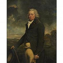 SIR JOHN HOPPNER, (BRITISH 1758-1810), PORTRAIT OF A GENTLEMAN, THOUGHT TO BE HENRY WILSON, THREE-QUARTER LENGTH, IN A GREEN COAT, S...