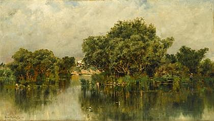 EMILE CHARLES LAMBINET, (FRENCH 1815-1877), REFLECTIONS IN A RIVER