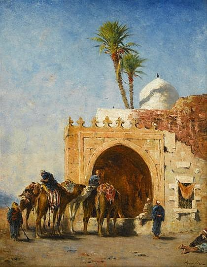 NARCISSE BERCHERE, (FRENCH 1819-1891), A TROOP OF CAMELS WATERING