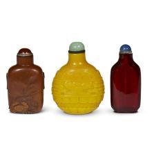Three Chinese glass snuff bottles,