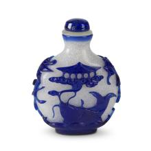 A Chinese blue-overlay glass snuff bottle,
