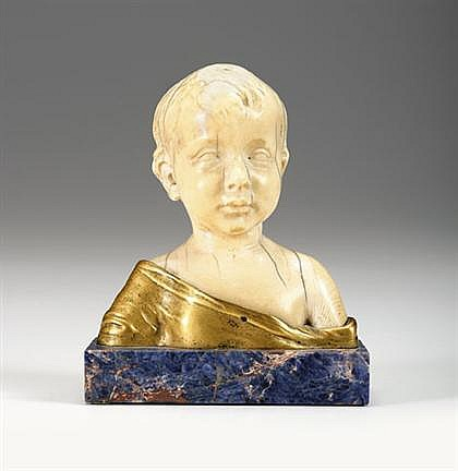 After Desiderio da Settignano (Italian 1428-1463), little boy, 18th/19th century, Ivory, ormolu and lapis lazuli.