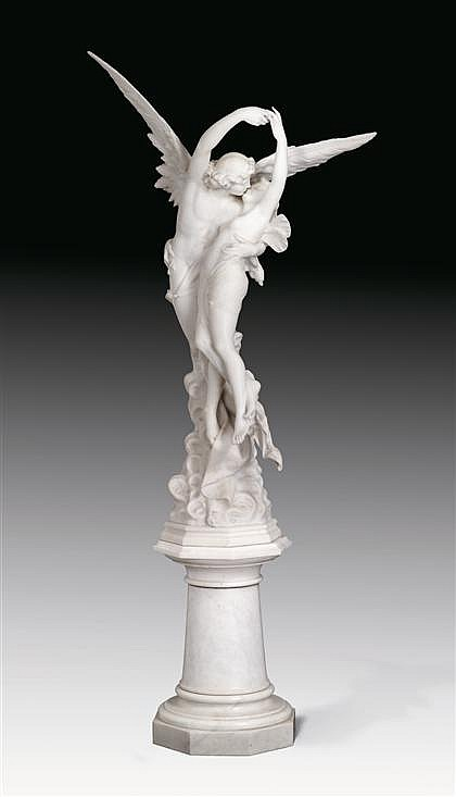 Fine Italian marble sculpture by Cesare Lapini, the abduction of psyche, Signed and dated Galleria Lapini, Firenze 1900, depicting Cupi