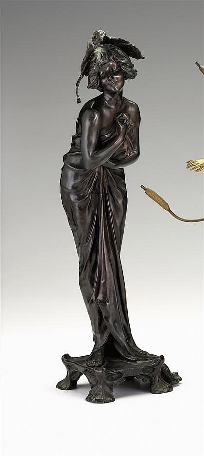 Lucien (Charles Edouard) Alliot (French, 1877-1956), phalene, Bronze, dark brown patina, signed L. Alliot and with partially effaced pl