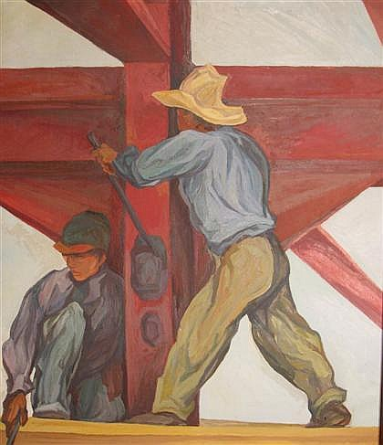 TWO PAINTINGS PABLO ESTEBAN O'HIGGINS, (AMERICAN, 1904-1983), CONSTRUCTION WORKERS