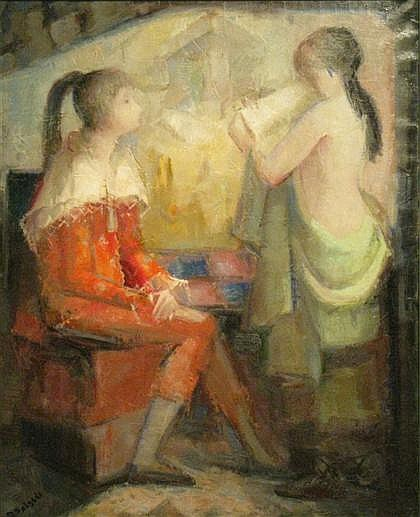 DEMETRIO SALGADO COSME, (SPANISH, B. 1915), TWO GIRLS