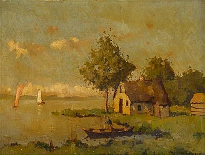 NICOLAAS BRUYNESTEYN, (DUTCH 1893-1950), COTTAGE BY THE LAKE