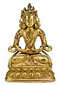 Chinese gilt bronze bodhisattva, 19th century, The seated Avalokitesvara on double lotus throne wears a floating dhoti, wheel pendant e