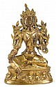 Chinese Sino-Tibetan gilt bronze bodhisattva, 18th century, Seated in lalitasana on a double lotus base, hands in vitarka- and varadamu