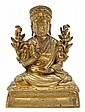 Chinese Sino-Tibetan gilt bronze banchan lama, 17th / 18th century, Seated in dhyanasana atop a rug and cushion base, his right hand in