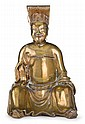 Chinese gilt bronze Daoist figure, 17th century, Seated, wearing hat and loose belt.