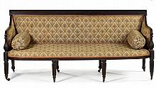 Federal mahogany sofa, attributed to william camp (fl. 1801-1822), baltimore, md, Flat reeded crestrail and downswept reeded arms conti