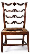 Federal mahogany carved side chair, attributed to daniel trotter (1747-1800), philadelphia, pa, With a pierced slat back with carved an