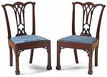 Pair of Chippendale mahogany Marlborough leg side chairs, philadelphia, pa, circa 1780, Each with serpentine crest above pierced Gothic