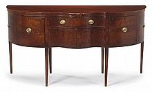 Federal inlaid mahogany serpentine sideboard, baltimore, md, or philadelphia, pa, circa 1800, Serpentine top above conforming case fitt