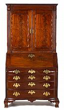 Chippendale mahogany oxbow secretary desk, massachusetts, late 18th century, Dentil molded cresting above fluted pilasters enclosing re