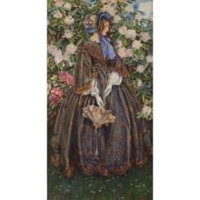 ELEANOR FORTESCUE-BRICKDALE, (BRITISH 1871-1945), VICTORIAN LADY STANDING BEFORE A LARGE RHODODENDRON