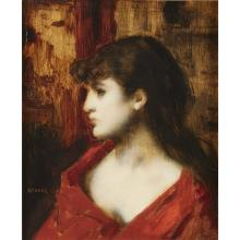JEAN JACQUES HENNER, (FRENCH 1829-1905), WOMAN IN PROFILE
