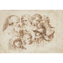 DOMENICO MARIA FRATTA, (ITALIAN 1696-1763), STUDIES OF SEVEN HEADS