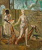 FRANKLIN WATKINS, (AMERICAN 1894-1972), FEMALE NUDE WITH HANDMAIDEN AND DOG, Franklin Chenault Watkins, Click for value