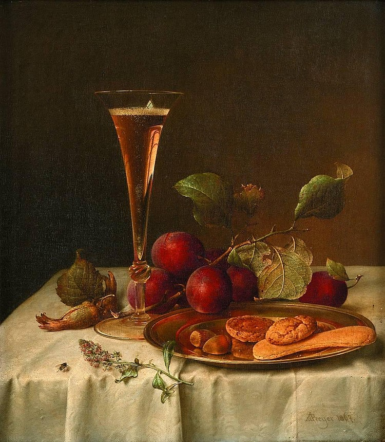JOHANN WILHELM PREYER, (GERMAN 1803-1889), STILL LIFE WITH CHAMPAGNE FLUTE AND WILD PLUMS