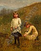 JENNIE BROWNSCOMBE, (AMERICAN 1850-1936), GATHERING FLOWERS, Jennie Augusta Brownscombe, Click for value