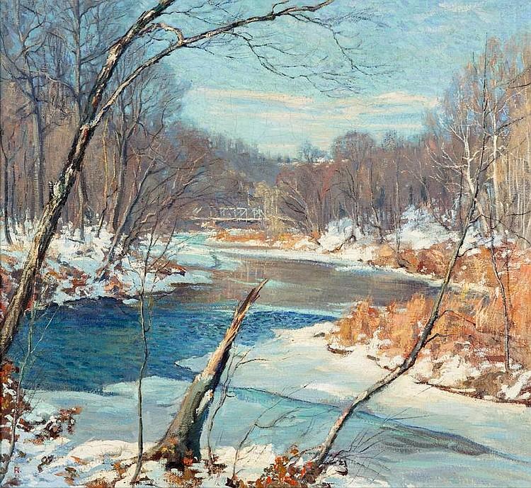 ROY C. NUSE, (AMERICAN 1885-1975), ''NESHAMINY WOODHILL BRIDGE''